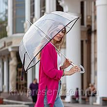 Прозрачный зонт-трость 8 спиц Качество!!! женский купольный зонт трость полуавтомат купол грибком