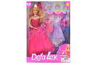 Лялька з гардеробом DEFA 8269 29 см, плаття 3 шт, аксесуари, 2 види, коробка 24,5-32-5,5 см