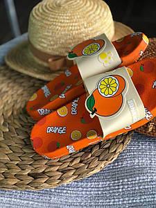 Сланці шльопанці тапочки з фруктами Апельсин Orange