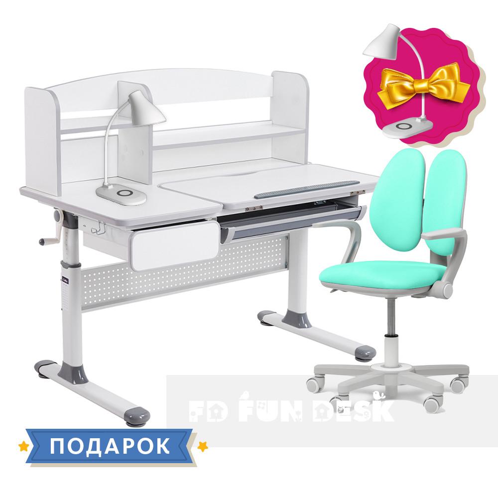 Комплект парта для школярів Cubby Rimu Grey + крісло Fundesk Mente Mint