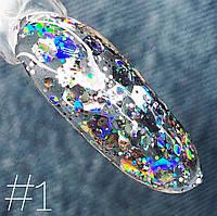 Гель-лак Saga Galaxy Glitter № 1 (8 мл)