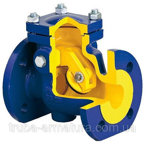 Клапан обратный канализационный чугунный фланцевый Zetkama DN 80 PN 1,6 МПа