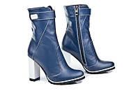 Женские кожаные синие полусапоги на устойчивом каблуке