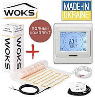 WoksMat 160 400 Вт (2,5 м2) с терморегулятором Е91, тонкий нагревательный мат под плитку