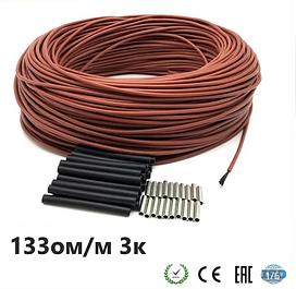 133 Ом/м. Нагрівальний карбоновий кабель 3К в силіконовій ізоляції