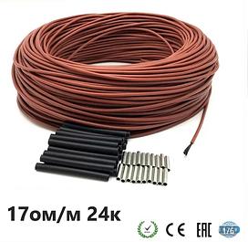 17 Ом/м. Нагрівальний карбоновий кабель 24К в силіконовій ізоляції