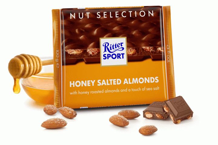 Шоколад Ritter Sport молочний з соленим мигдалем та медом 100г