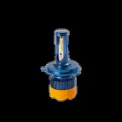 GT7 Лампа светодиодная цоколь H4 blue (к-кт 2 шт) 12/24V, 60W, 4800Lm + вентилятор (авиац. алюмин.) blue