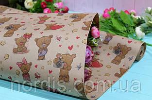 Бумага для цветов и подарков.Двухсторонняя крафт с рисунком. Размер: 70см*10м.Качество!!!
