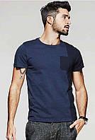 Мужская синяя модная хлопковая футболка