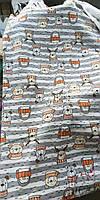 """Трехнитка з начосом """"Звірята в шарфиках """", щільність 330г/м., ротація, відріз 0.6 м з браком"""