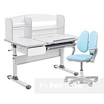 Комплект парта для школярів Cubby Rimu Grey + крісло Fundesk Mente Blue з підлокітниками, фото 2