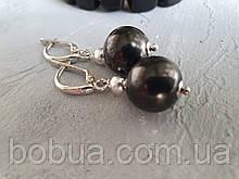 Серьги серебряные натуральный ′Шунгит′
