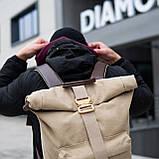 Роллтоп рюкзак мужской DEZERT из брезента canvas WLKR, фото 3