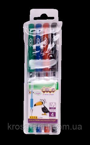 Набір з 4 гелевих ручок у пластиковому пеналі, KIDS Line