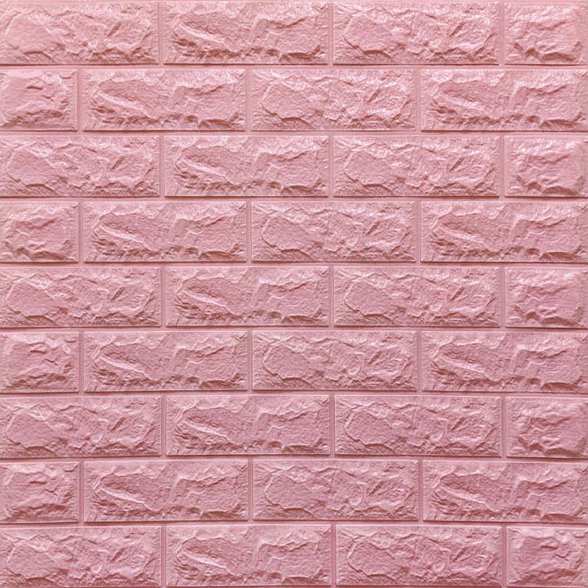 Декоративна 3D панель самоклейка під цеглу Рожевий 700х770х7мм