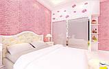 Декоративна 3D панель самоклейка під цеглу Рожевий 700х770х7мм, фото 3