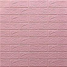 Декоративная 3D панель самоклейка под кирпич Розовый  700х770х5мм