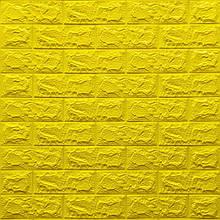 Декоративная 3D панель самоклейка под кирпич Желтый 700x770x7мм