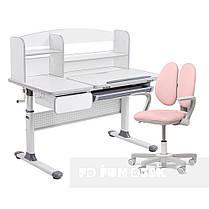Комплект парта для школярів Cubby Rimu Grey + крісло Fundesk Mente Pink з підлокітниками, фото 2