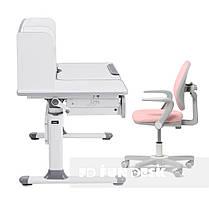 Комплект парта для школярів Cubby Rimu Grey + крісло Fundesk Mente Pink з підлокітниками, фото 3