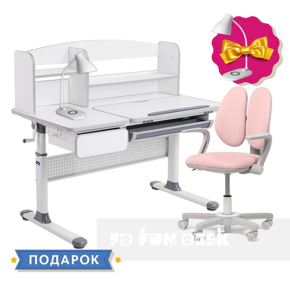 Комплект парта для школярів Cubby Rimu Grey + крісло Fundesk Mente Pink з підлокітниками