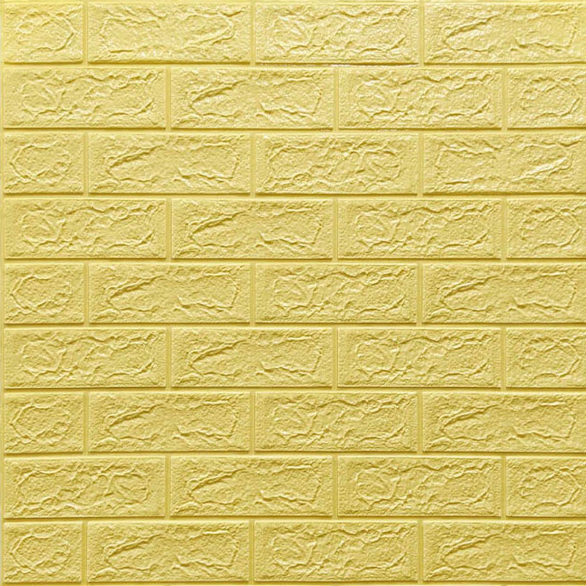 Самоклеюча декоративна 3D панель жовто-пісочний цегла 700х770х3мм