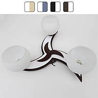 Люстра потолочная «Звезда» на три лампочки Коричнево-белый