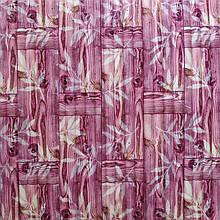 Самоклеющаяся декоративная 3D панель бамбуковая кладка розовая 700x700x8.5мм