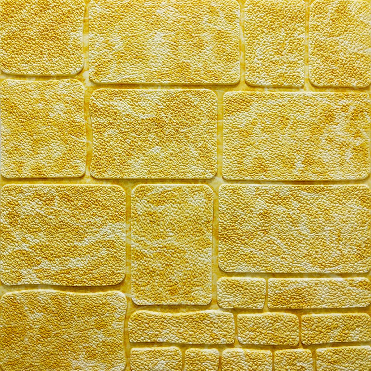 Самоклеюча декоративна 3D панель камінь жовтий мармур 700х700х7мм