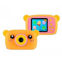 Дитячий цифровий фотоапарат XL 500R Ведмедик Оранжевий з рожевим