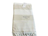 Пляжное полотенце Maison Dor Primavera Beach Beige White хлопок 100-200 см кремовое
