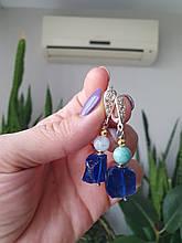 Серьги серебряные синий аквакварц