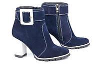 Женские замшевые синие ботильоны на толстом каблуке