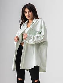 Стильная однотонная котоновая рубашка с длинным рукавом свободного кроя в 4 цветах в размере S/M и L/XL.