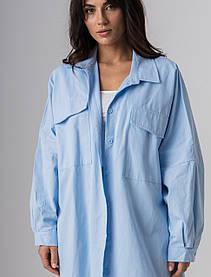 Стильная однотонная котоновая рубашка с длинным рукавом свободного кроя в 4 цветах в размере S/M и L/XL. голубой