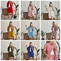 Женский летний льняной прогулочный костюм: 42, 44, 46, 48, 50, 52 - красный горчица джинс пудра голубой мокко