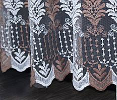 Остаток (2,35х2,9м.) ткани с рулона. Тюль фатин с вышивкой. Цвет белый с коричневым. Код 187ту 00-554