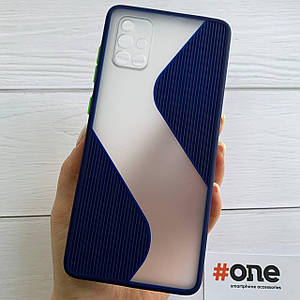 Чехол для Samsung Galaxy A71 с защитой для камеры плотный чехол на телефон самсунг а71 темно синий TWV
