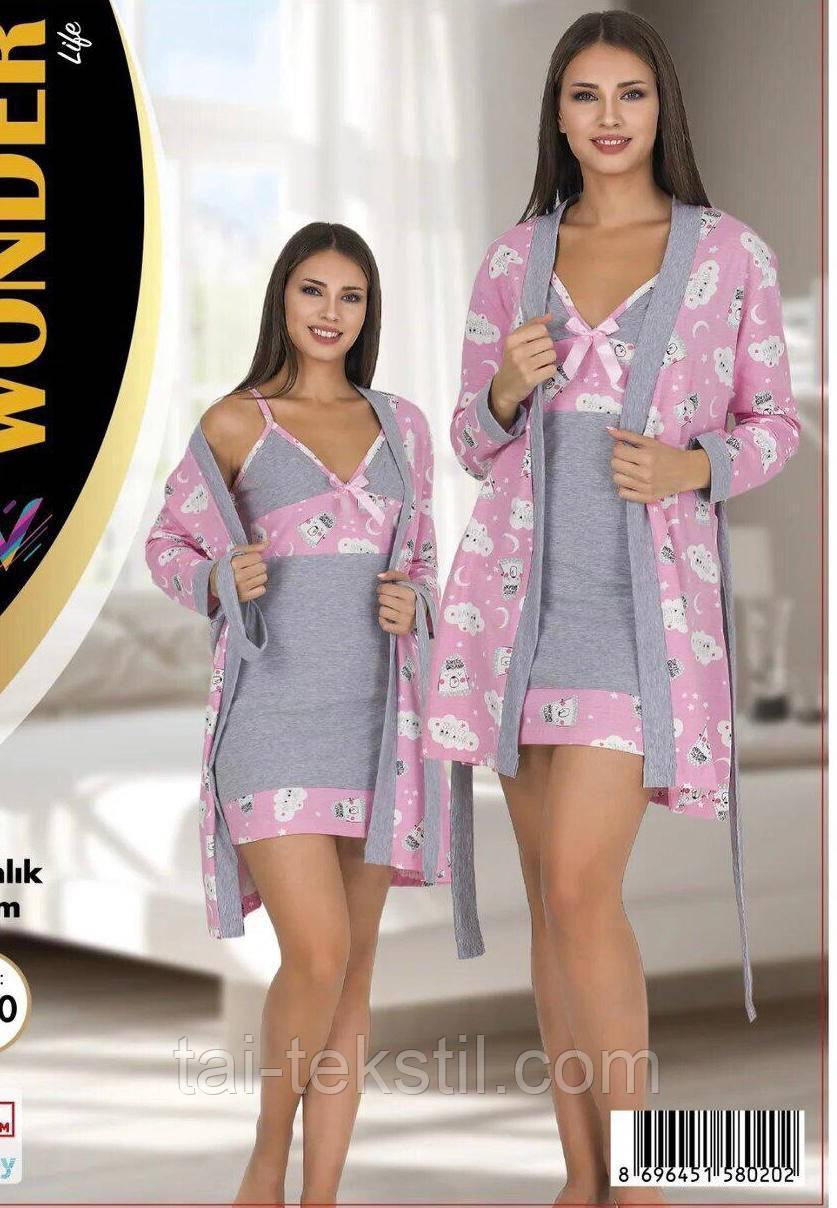 Комплект халат, нічна сорочка якість бавовна з лайкрою NEW ANGEL №7786