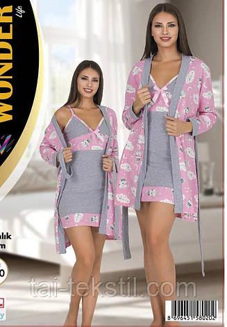 Комплект халат, нічна сорочка якість бавовна з лайкрою NEW ANGEL №7786, фото 2