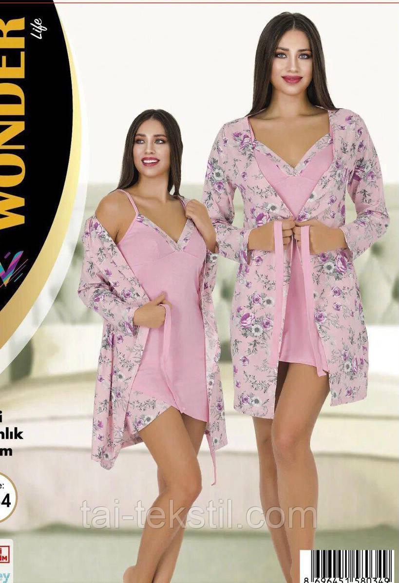 Комплект халат и ночная рубашка качество хлопок с лайкрой NEW ANGEL №7757