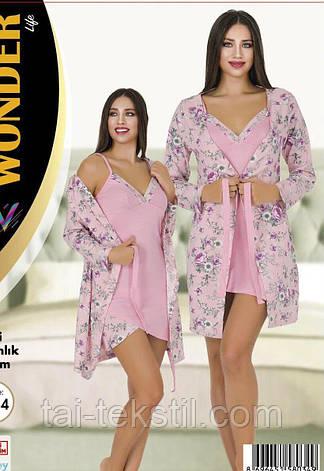 Комплект халат и ночная рубашка качество хлопок с лайкрой NEW ANGEL №7757, фото 2