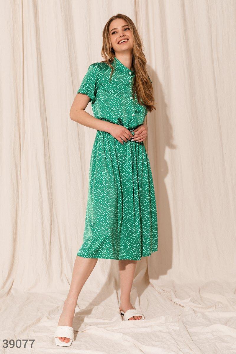 Шелковое платье миди в мелкий горошек зеленое
