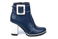 Женские кожаные синие ботильоны на толстом каблуке