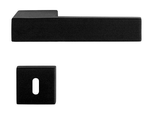Черные итальянская дверная ручка CUBE PURE BLACK, н/ж сталь
