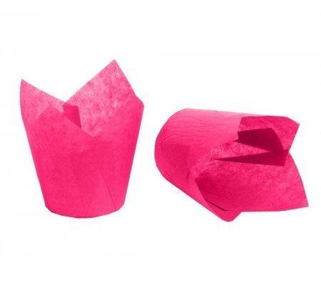 Формы бумажные для маффинов Тюльпаны розовые (150шт упаковка)