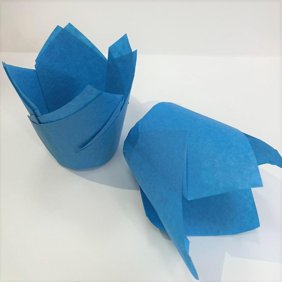Формы бумажные для маффинов Тюльпаны голубые (150шт упаковка)