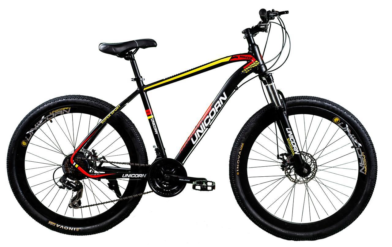 """Велосипед Unicorn - Migeer 27,5"""" Розмір рами 18"""" Алюміній Чорно-червоний"""