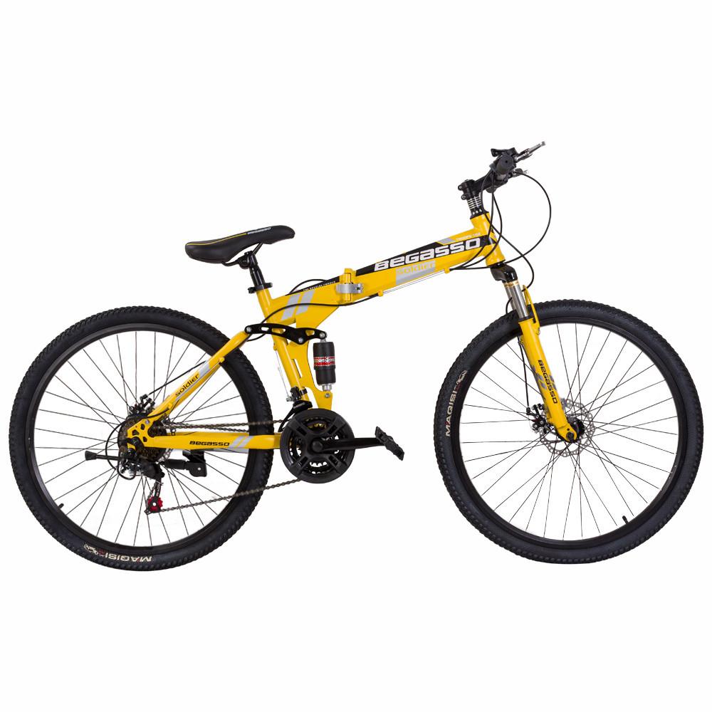 """Велосипед складной 26\"""" BeGasso Soldier рама 17\"""" желтый цвет на рост 155-185 см"""